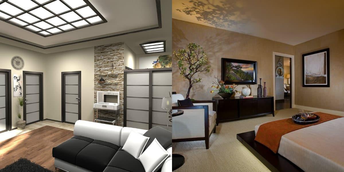 Японский стиль в интерьере; потолок