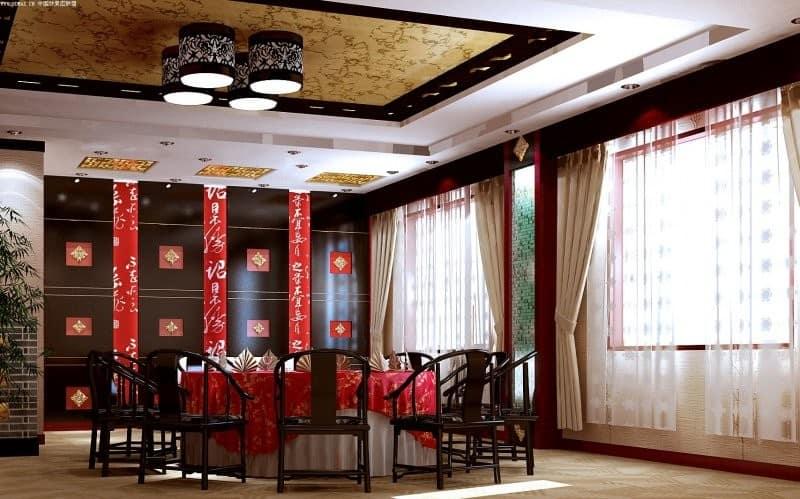 Китайский стиль в интерьере: столовая группа