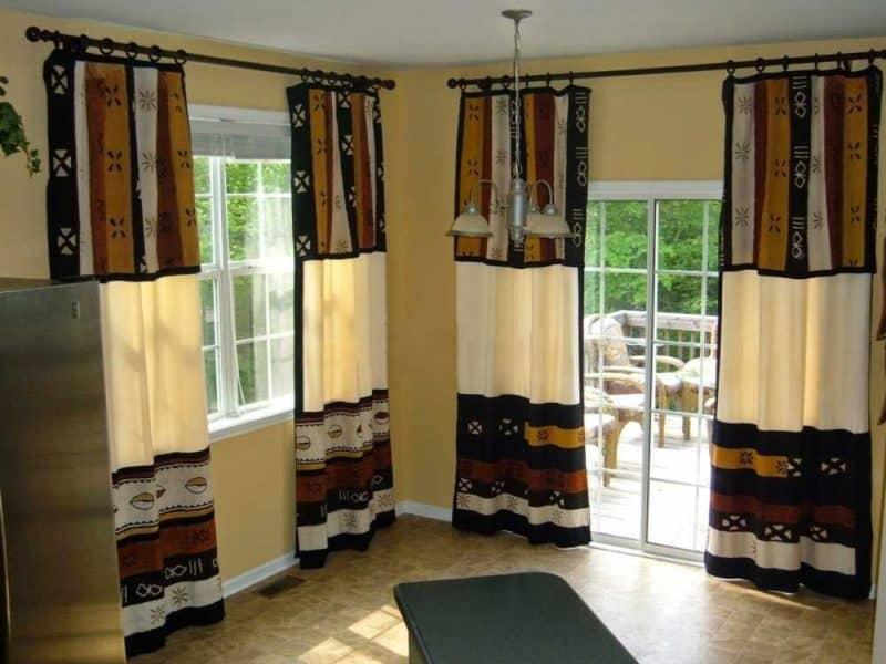 африканский стиль в интерьере:шторы