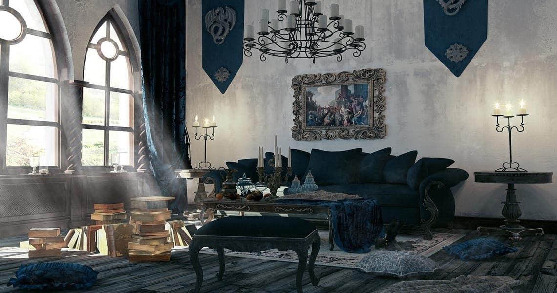 Готический стиль в интерьере: гостиная