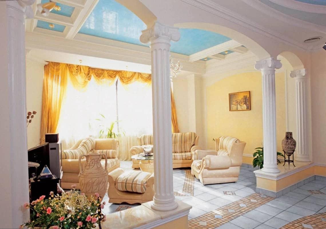 Греческий стиль в интерьере: колонны