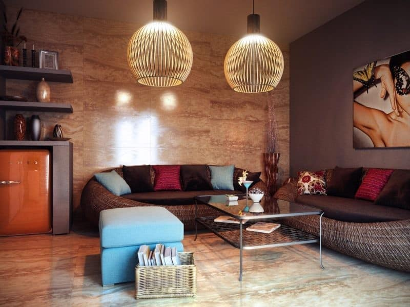 Стиль Фьюжен в интерьере: диван