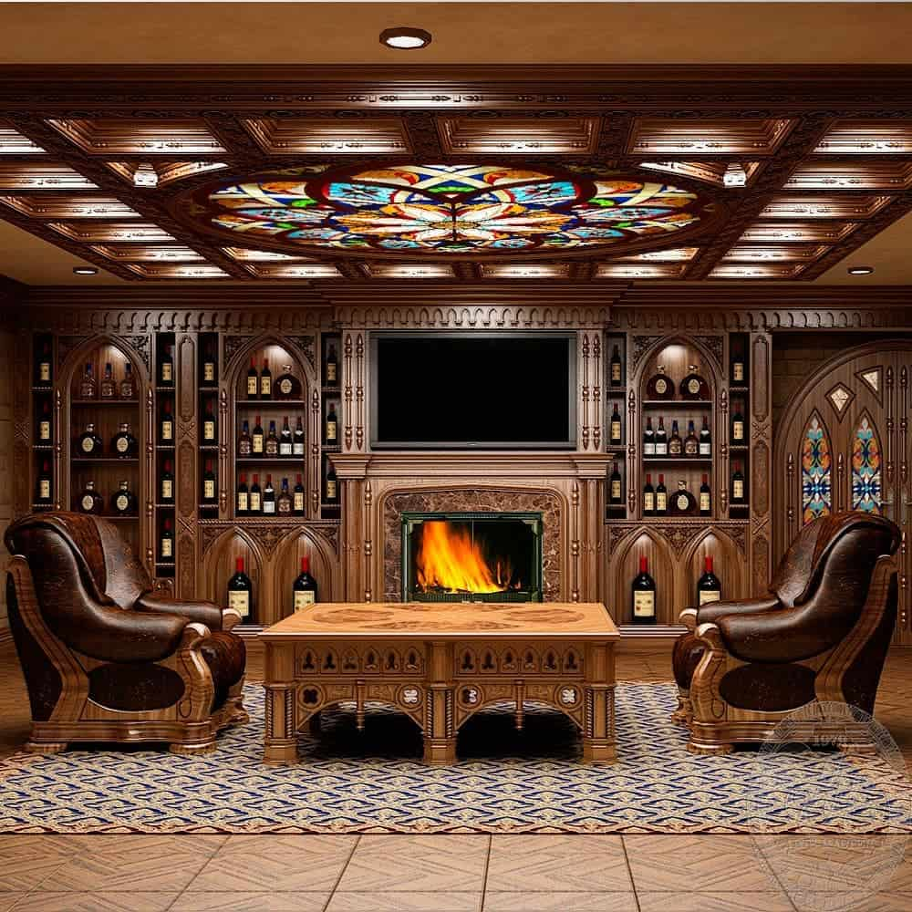 потолок-в-готическом-стиле